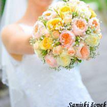 Sanjski šopek, šopek s polnim cvetom vrtnice, šlajer